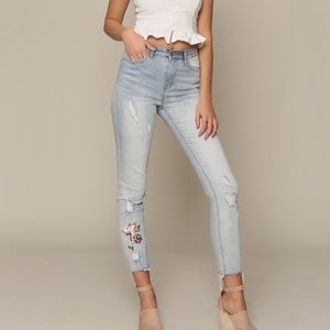 6e218554c4ba Denim - High waist distressed embroidered jeans